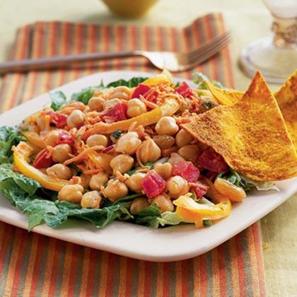 Chickpea-Vegetable Salad with Curried Yogurt Dressing