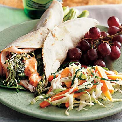 Asparagus-Turkey Wraps with Roasted-Pepper MayonnaiseRecipe