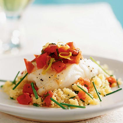 Oven-Roasted Sea Bass with Couscous and Warm Tomato VinaigretteRecipe