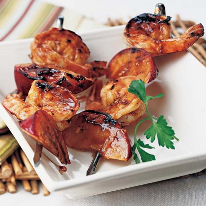Grilled Shrimp-and-Plum Skewers with Sweet Hoisin Sauce