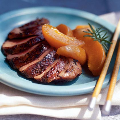 Rosemary-Rubbed Duck Breast with Caramelized Apricots