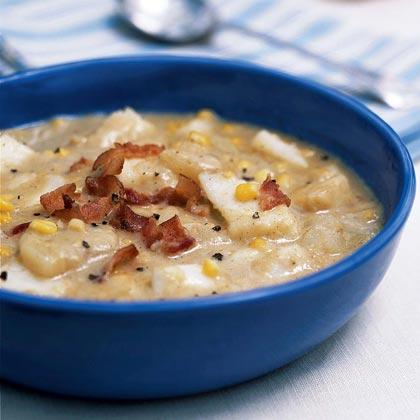 Corn fish chowder recipe myrecipes for Healthy fish chowder