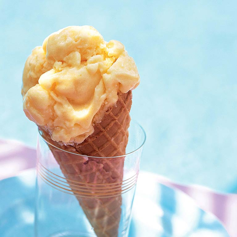 Mango-Passion Fruit Gelato RecipeThere's little reason not to double-dip with this fruity gelato—each serving has only 130 calories.