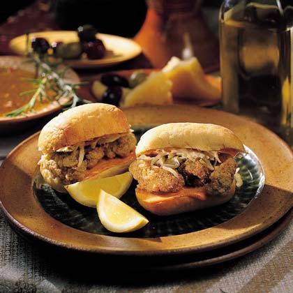 Dressed Mini Oyster Po'boys Recipe