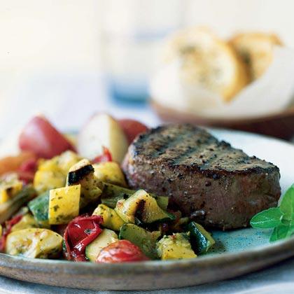 Grilled Tenderloin with Warm Vegetable Salad