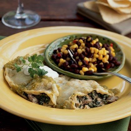 Creamy Spinach-Mushroom Skillet Enchiladas Recipe | MyRecipes.com