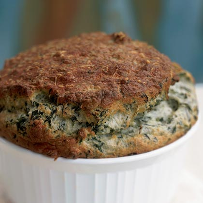 Greens and Cheese Soufflé