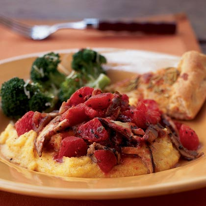 Polenta with Tomato-Shiitake Sauce Recipe