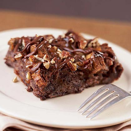 Warm Chocolate Bread Pudding with Turtle Topping Recipe
