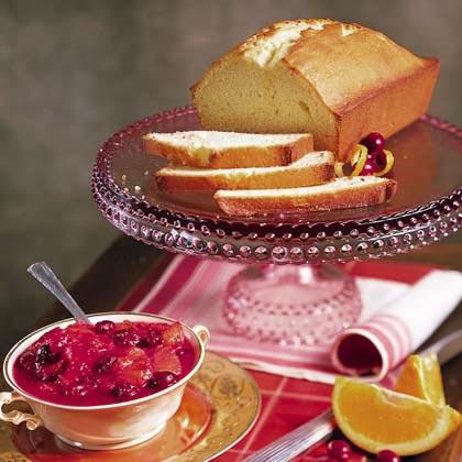 Ginger Pound Cake with Glazed Cranberry Ambrosia