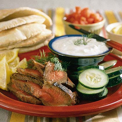 London Broil Sandwiches with Yogurt-Cucumber SauceRecipe