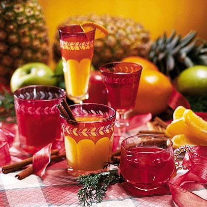 Pineapple Wassail                            RecipeToast your good health with a glass of this fruity wassail. Simmer pineapple juice and orange juice, apple cider, and apricot nectar with cinnamon and cloves for a holiday drink that will warm you from head to toe.