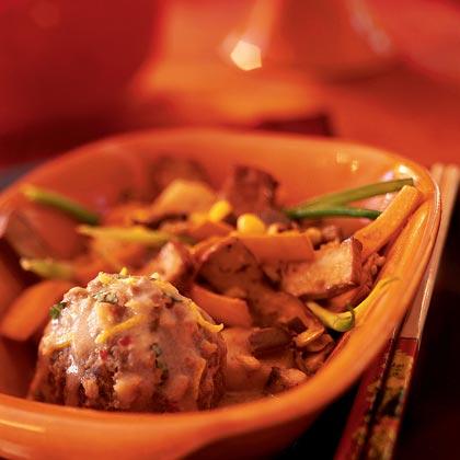 Lion's Head Meatballs in Spicy Coconut Sauce
