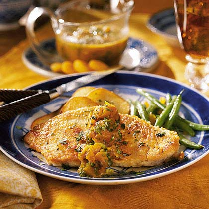 Apricot Chicken with Roasted Potato ThinsRecipe