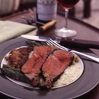 Grilled Prime Aged Sirloin with Garlic-Scallion Potato Cakes and Béarnaise SauceRecipe