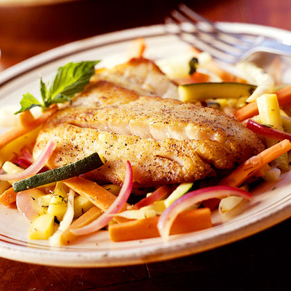 Sautéed Striped Bass with Summer VegetablesRecipe