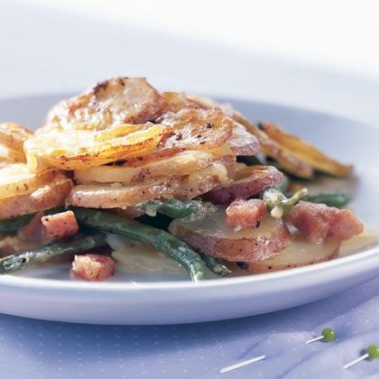 Potato Gratin with Haricots Verts and Ham