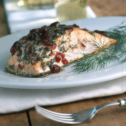 Alder-roasted Salmon with Dill and Cranberries Recipe