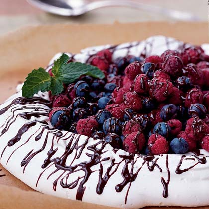 Chocolate and Berry-Covered Meringue