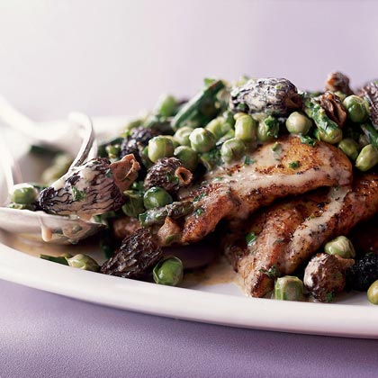 Chicken Scallopine with Morels and Spring Vegetables Recipe