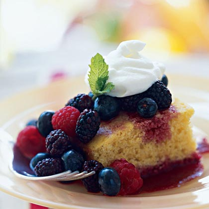 Sweet Corn Bread with Mixed Berries and Berry CoulisRecipe