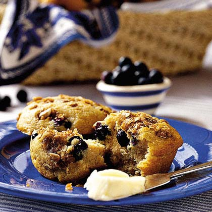 To prevent berries from bleeding, toss them in flour, and then gently fold them into batter.Blueberry-Cinnamon Muffins Recipe