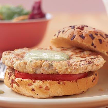 Chicken-Chorizo Burgers with Avocado Mayonnaise