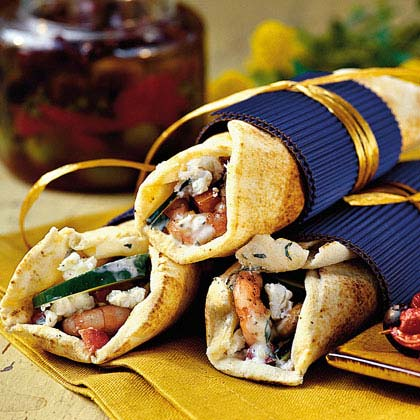 Grilled-Shrimp Gyros with Herbed Yogurt SpreadRecipe