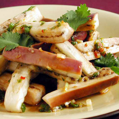 Steamed Japanese Eggplant with Spicy Green Onion-Ginger Sauce