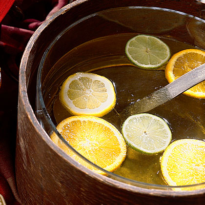 Almond Tea                            RecipeAlmond and vanilla are elegant and unexpected flavors in this quick and easy tea punch. Balance the sweetness with fresh lemon juice and serve cold with thin slices of lemon, lime, and orange.