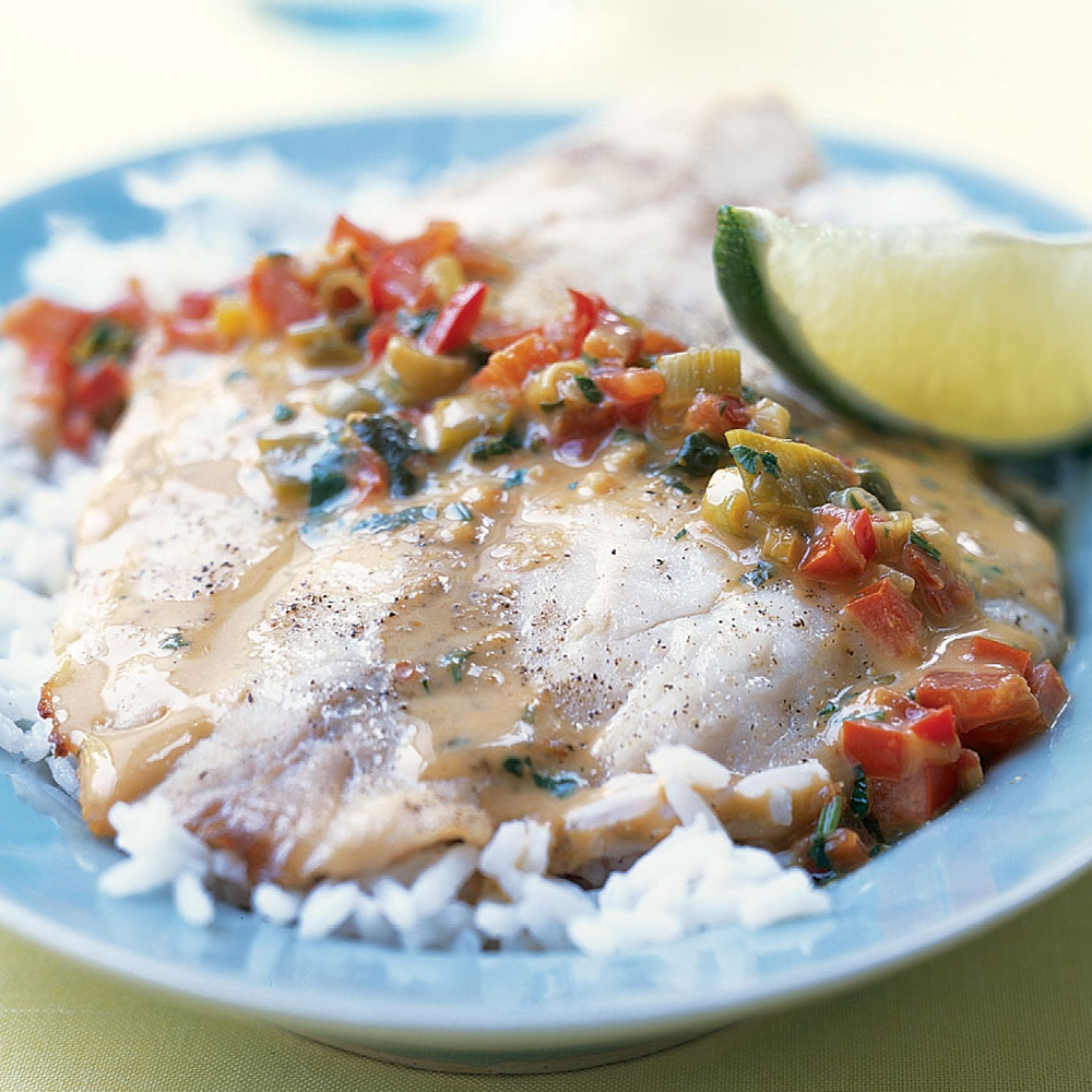 Broiled Tilapia with Thai Coconut-Curry Sauce Recipe | MyRecipes