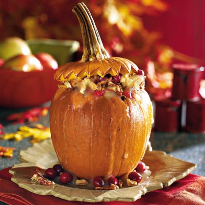 Stuffed Pumpkin with Cranberry-Raisin Bread PuddingRecipe