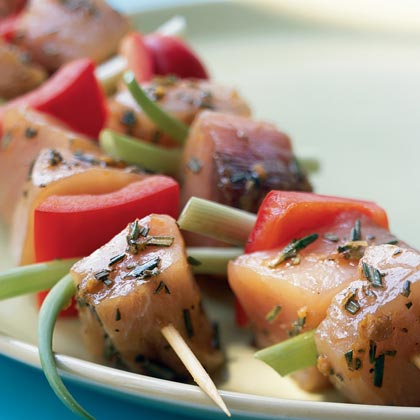 Zesty Swordfish Kabobs RecipeGet raves at your next backyard barbecue with these colorful and healthy swordfish kabobs. The secret is in the 12-ingredient marinade, a fabulous brew made from staples such as soy sauce, honey, rosemary, and citrus zest.