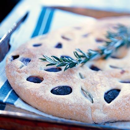 Rosemary-Scented Flatbread with Black GrapesRecipe