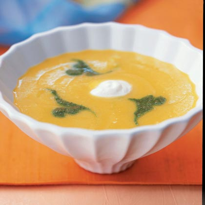 Yellow Pepper Soup with Cilantro Purée