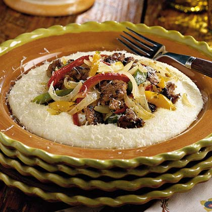 Sausage and Peppers With Parmesan Cheese Grits Recipe