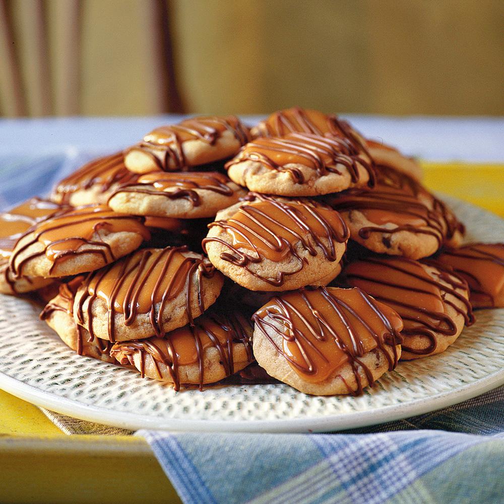Peanut Butter-Toffee Turtle Cookies Recipe | MyRecipes