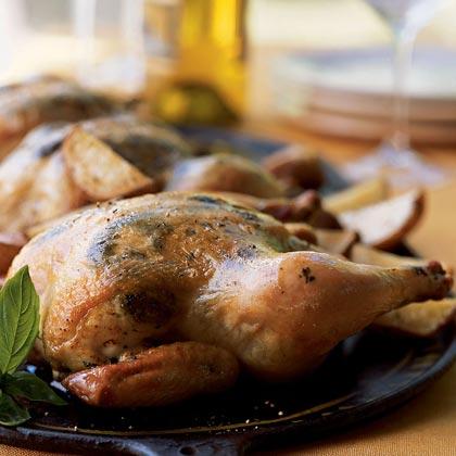 Game Hens with Pesto Rub and Roasted PotatoesRecipe