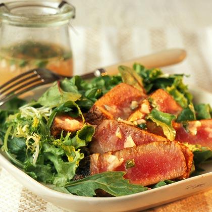 Seared Tuna on Mixed Greens with Cilantro-Lime Vinaigrette Recipe