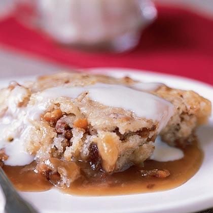 Date-Nut Pudding Cake with Vanilla Sauce Recipe