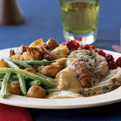 Herbed Turkey with Roasted Garlic Gravy
