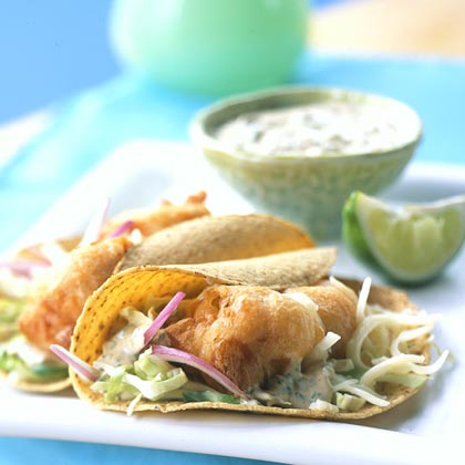 Beer battered fish tacos with baja sauce recipe myrecipes for Fish taco recipe sauce