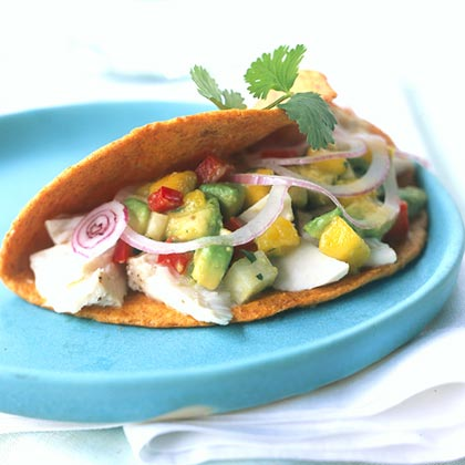 Hickory-grilled Fish Tacos with Mango-Avocado Relish