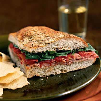 Ham and Spinach Focaccia Sandwiches