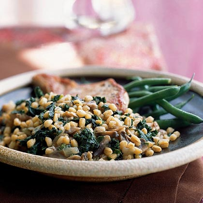 Grano with Mushrooms and GreensRecipe