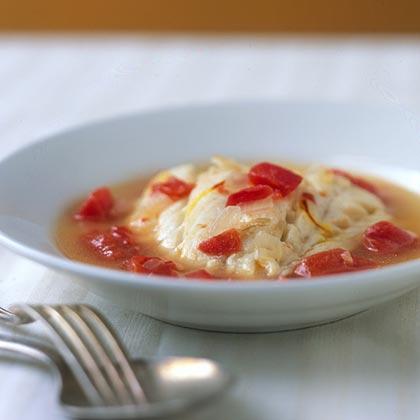 Cod Poached in Tomato-Saffron Broth