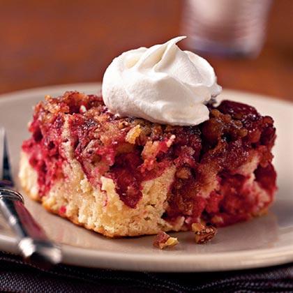 Cranberry Upside-Down Cake with Cognac Cream