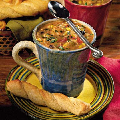 """""""This soup has become one of our winter time staples. So very easy and tasty too! At first I was uneasy about the long list of ingredients, but it's actually very inexpensive and makes a nice big batch. Love it!"""" -wemawaneFiesta Chowder Recipe"""