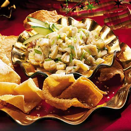 Spicy Crab-and-Ginger Salsa with Sesame Wontons