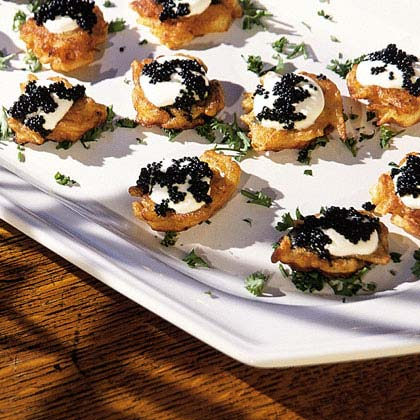 Potato Blini With Sour Cream And Caviar Recipe Myrecipes